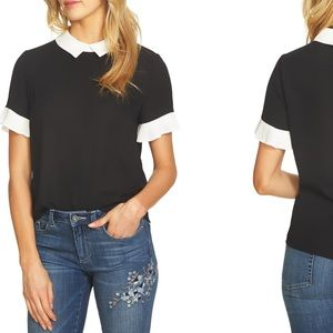 CeCe | Pleat Sleeve Collared Crepe Blouse Large